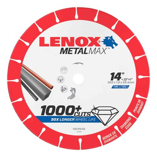 Disco de corte de diamante 14 Pulgadas x 1.8mm x 1 Pulgadas Lenox