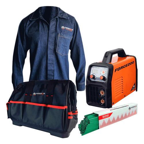 Combo Soldadora Force200 + Maleta porta herramientas + Camisola + 5kg electrodo 6013