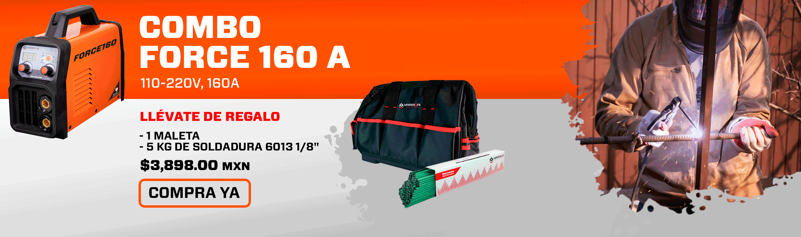 Combo Soldadora Force160 + 5KG Soldadura 6013 + Maleta